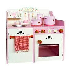 Kids Wooden Kitchen Pretend Play Set Pink Strawberry with 9 Accessories