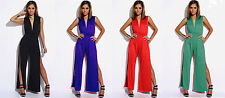 Business Event Party Double Slit Deep V-neck Open Leg Palazzo Jumpsuit S/M/L