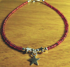 Handmade Star Bead Charm Red Glass Seed Bead Anklet/Ankle Bracelet