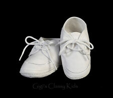 New Baby Boys White Cotton Booties Lace Up Shoes Baptism Christening Dedication