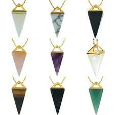 Pyramid Gemstone Healing Chakra Point Pendant Opal/Amethyst/Rock Crystal Quartz