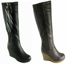 NEW LADIES WOMEN KNEE HIGH WEDGE GUSSET DESIGN FAUX  LEATHER BOOT SIZE 3- 8