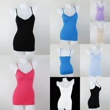 Women's Basic Stretch Camisole Layering Tank Top Spaghetti Strap Long Cami Plain