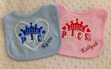 Personalised Little Prince/ Little Princess Bib. Great baby gift.