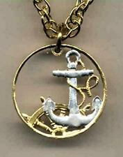 """Spanish 50 Centimes Silver & Gold Plated 18-24"""" (cut out Anchor) Coin Necklace"""