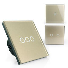 1/2/3 Gang Wall Light Touch Screen Switch with Remote Control Tempered Glass EU