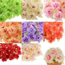 50Pcs Simulation Fake Roses Heads Silk Flowers Leaf Home Garden Decor 7 Colors