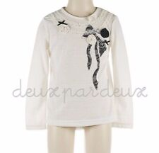 NWT Deux par Deux Neige Jersey baby girl White Top with Lace Bow 12m 3 Style N70