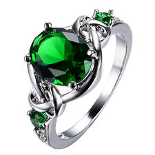 8*10MM Emerald Crystal Band Women's10Kt White Gold Filled Party Ring Size 6-11