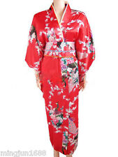Japanese Kimono Peacock Vintage Yukata Gown Haori Costume Retro Dress With Obi