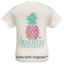 "Girlie Girl Originals ""Preppy Pineapple"" White Short Sleeve Unisex Fit T-Shirt"