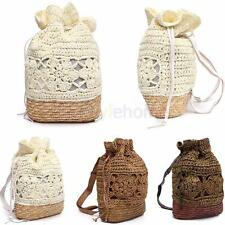 Womens Straw Drawstring Beach Handbag Shoulder Bag Backpack Clutch Messenger Bag