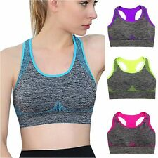Ladies Yoga Fitness Running Workout Crop Top Tank Sports Bra Padded Racerback