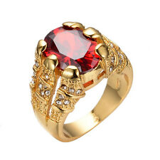 Red Ruby Zircon Women's Lady's 10Kt Yellow Gold Filled Engagement Ring Size 6-12