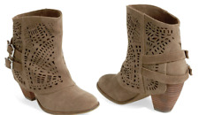 NAUGHTY MONKEY Women's Lyrics Suede Bootie Boots Brown Taupe NEW Boxed $130