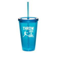 16oz Double Wall Acrylic Tumbler Mug Cup w/ Straw Throw Like A Girl Softball