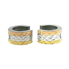 Stainless Steel Ladies Tri Color Huggie Hoop Earrings 6 Styles