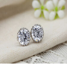 New Chic 18K White Gold Plated  Crown Crystal Princes Ear Stud Earring Jewelry