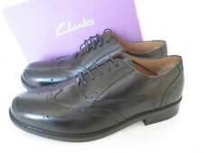 NEW CLARKS BRAVO BROGUE EXTRA WIDE FIT BLACK LEATHER SHOES VARIOUS SIZES