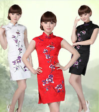 Traditional Chinese Cotton Women's MINI Dress Cheong-sam Bridal Gown SZ S-2XL