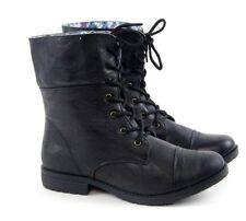 Women's Military Combat Boots Mid Calf Lace Casual Floral Blue Moto SALE