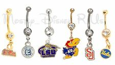 NEW College Body Jewelry Stainless 14G Curved Belly Navel Barbell LSU KU UCLA SU