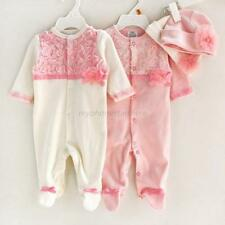 Newborn Infant Baby Girls Lace Jumpsuit Rompers+Flower Hats Baby Clothing Sets