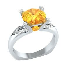 2.20 ct Yellow Citrine & White Sapphire Solid Gold Wedding Engagement Ring