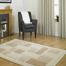 NEW SMALL TO EXTRA LARGE THICK MODERN Block Box CREAM BEIGE QUALITY Visiona Rug