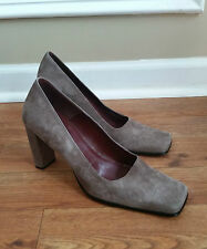 Nine West Grey Leather Suede Block Classic High Heels Ladies 8.5