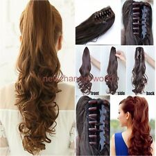 Real Natural Hair Piece Clip on Pony Tail Hair Extensions Long Straight/Wavy AU
