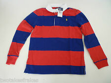 Ralph Lauren Boys Long Sleeve Red & Blue Polo Top Rugby Shirt L/S 7 NEW - Age 6