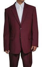 New Mens 2 Button Burgundy Maroon Dress Suit 44 S Short 44S
