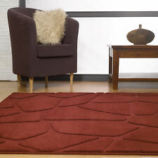 VISIONA RUG MODERN CARVED 16-18mm THICK RED HIGH QUALITY Small - Large Rugs Mat