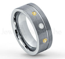 0.21ctw Diamond & Citrine 3-Stone Band, Tungsten Ring, November Birthstone #030