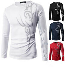New Long Sleeve T-Shirt Top Slim Fit Casual Print Round Neck Tattoo Mens