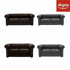 Heart of House Chesterfield Premium Leather Sofa Settee- Choice of Size & Colour