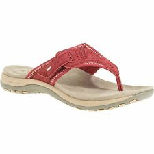 New Womens Red Leather Comfort Sport Sandals sz 8 Ladies Thong med, wide Velcro