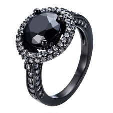 Black Zircon 2 Layers White CZ Band Women's 10K Black Gold Filled Ring Size 5-10