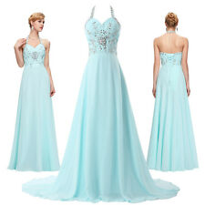Women Long Halter Bridesmaid Wedding Formal Gown Ball Party Evening Prom Dresses