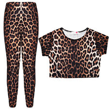 Girls Leopard Print Crop Top & Legging Set  Kids Fashion 2 Pc Outfit  7-13 Years