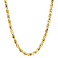 Men's 14k Gold Plated 4 mm Thin French Rope Neck Chain Unisex Twisted Necklace