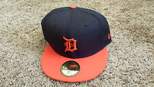 Detroit Tigers New Era MLB 59FIFTY Fitted Hat Cap Navy Blue Orange NEW - 7 1/2
