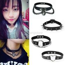 Ladies Punk Gothic Leather Choker Heart Chain Spike Rivet Buckle Collar Necklace