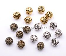 Tibetan Silver Round Shaped Heart Hollow Spacer Bead Findings 12mm J3000