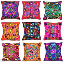 """Zip Cushion Cover 16x16"""" 40cm Indian Art Silk Embroidered Tapestry Flower Leaves"""
