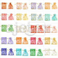 20/40/60/100pcs 7x9cm Heart Love Flowers Pouches Organza Jewellery Gift Bags