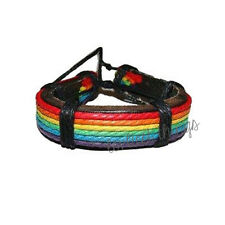 LGBT Gay Pride Rainbow Leather Bracelet Wristband Wristlet Lesbian Gay Jewellery