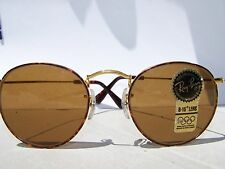 Vintage Ray Ban Bausch And Lomb Round Tortoise/Gold  Metal Sunglasses