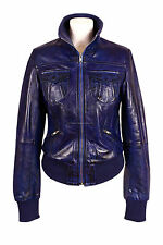 Ladies ATLANTIC Blue Waxed (3758) Biker Style Lambskin Leather Designer Jacket